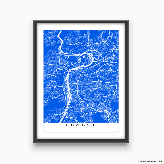 Prague, Czech Republic map print with city streets and roads in Blue designed by Maps As Art.