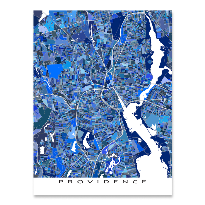 Providence, Rhode Island map art print in blue shapes designed by Maps As Art.