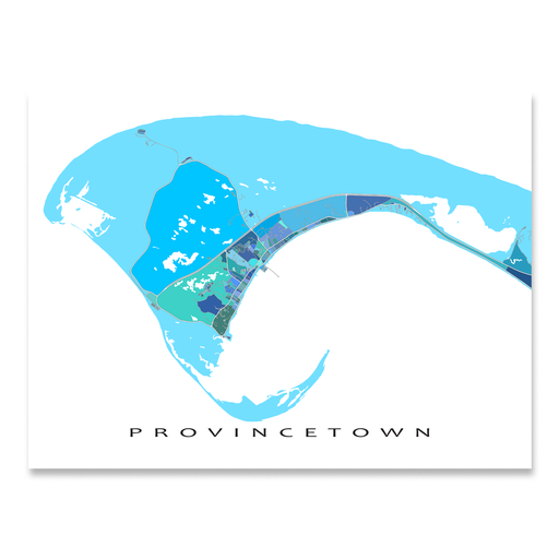 Provincetown, Cape Cod, Massachusetts map art print in blue, aqua and turquoise shapes designed by Maps As Art.