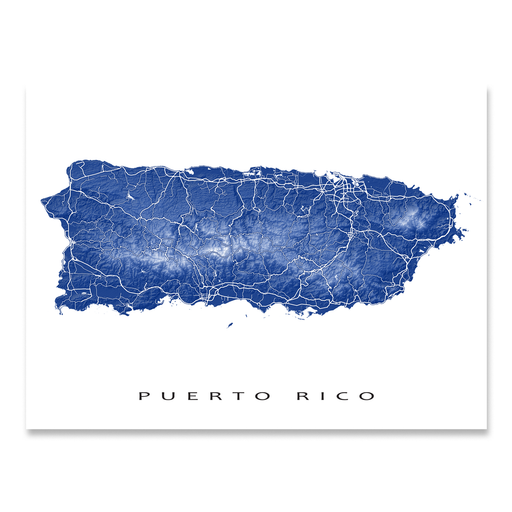Puerto Rico map print with natural island landscape and main roads in Navy designed by Maps As Art.