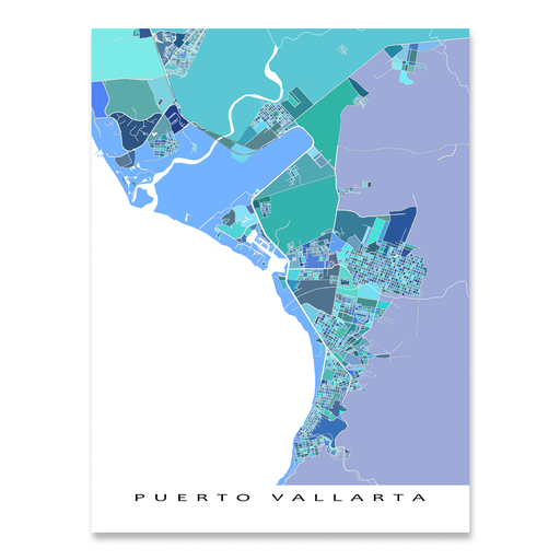 Puerto Vallarta, Mexico map art print in blue shapes designed by Maps As Art.