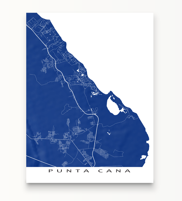 Punta Cana, Dominican Republic map print in Navy by Maps As Art.