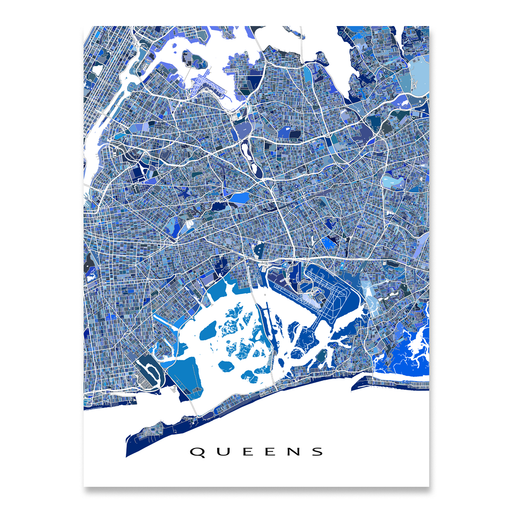 Queens, New York City map art print in blue shapes designed by Maps As Art.