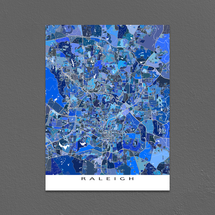 Raleigh Map Print, North Carolina, USA