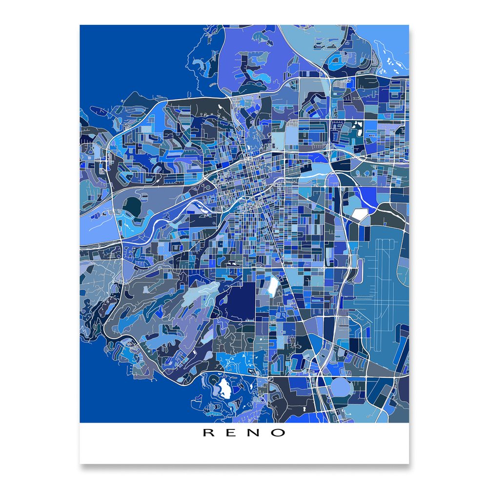 Reno, Nevada map art print in blue shapes designed by Maps As Art.