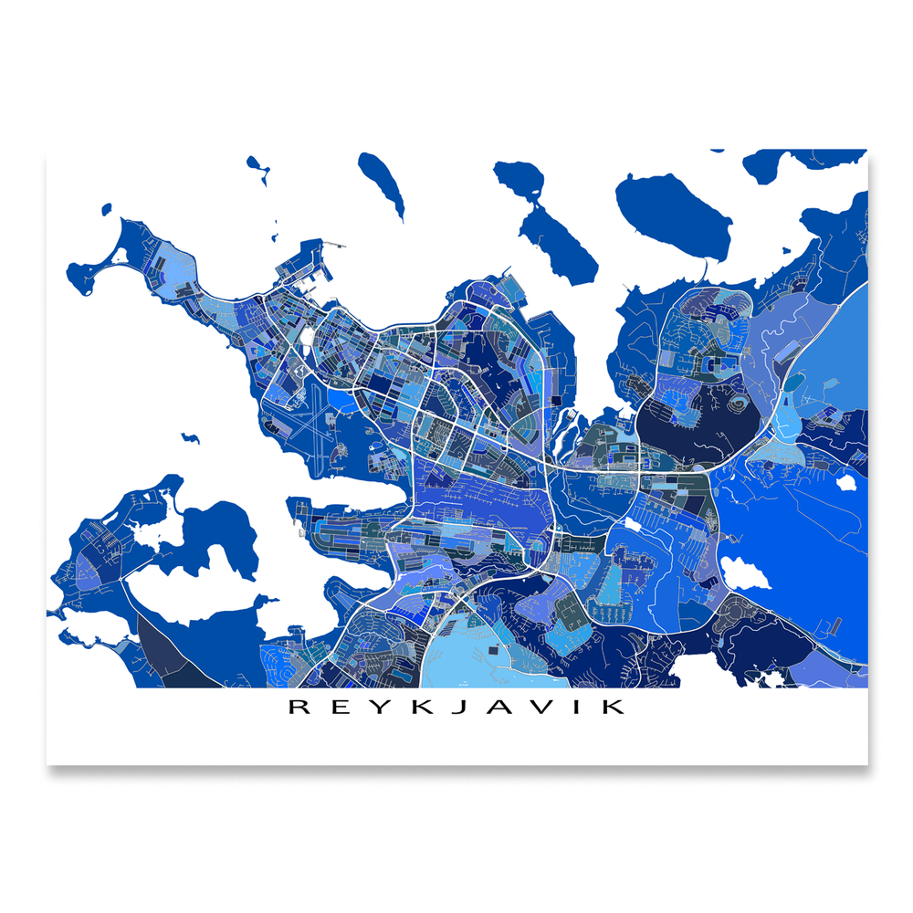 Reykjavik, Iceland map art print in blue shapes designed by Maps As Art.