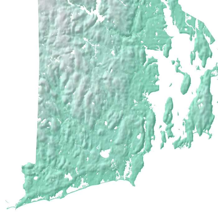 Rhode Island state map print with natural landscape in aqua tints designed by Maps As Art.