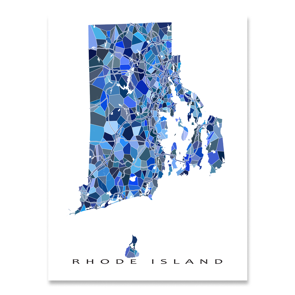 Rhode Island state map art print in blue shapes designed by Maps As Art.