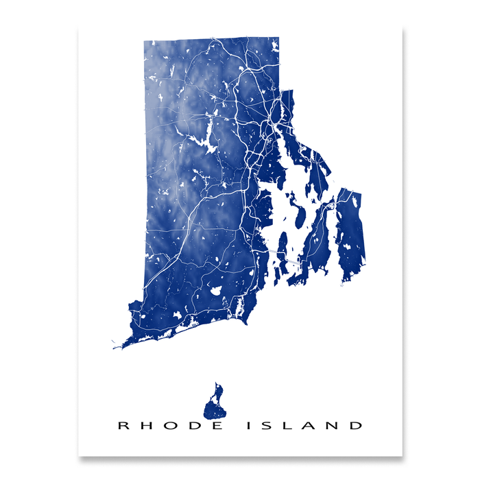 Rhode Island state map print with natural landscape and main roads in Navy designed by Maps As Art.
