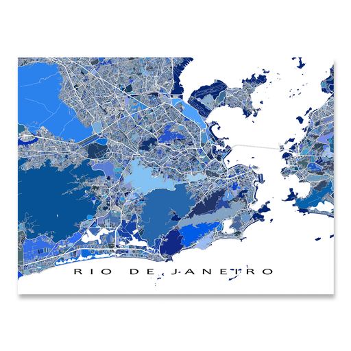 Rio De Janeiro, Brazil map art print in blue shapes designed by Maps As Art.