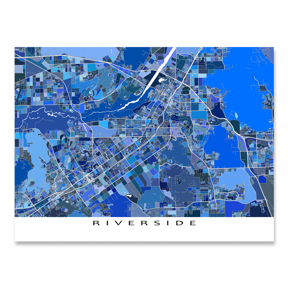 Riverside, California map art print in blue shapes designed by Maps As Art.