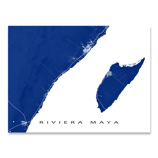 Riviera Maya, Mexico map print with natural landscape and main roads in Navy designed by Maps As Art.