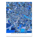 Rochester, New York map art print in blue shapes designed by Maps As Art.
