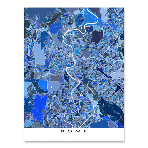 Rome, Italy map art print in blue shapes designed by Maps As Art.