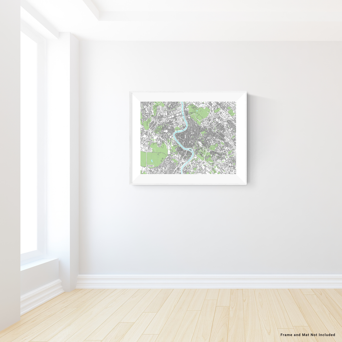 Rome Map Print, Italy, Grey