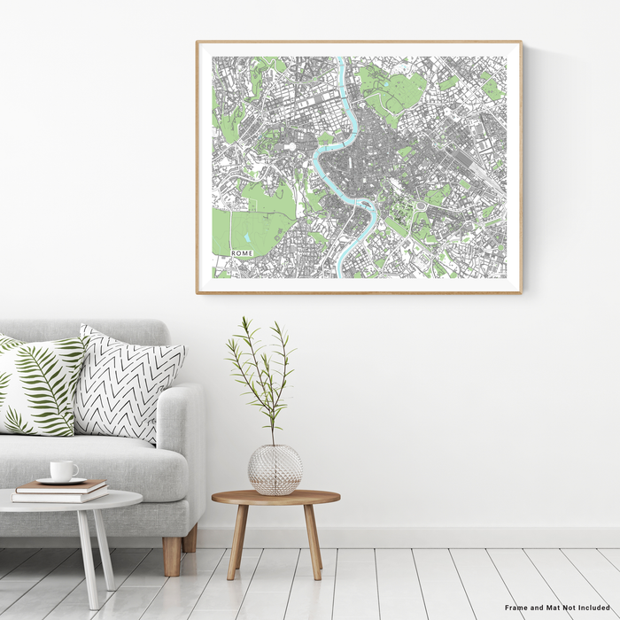 Rome, Italy and Vatican City map art print with city streets and buildings designed by Maps As Art.