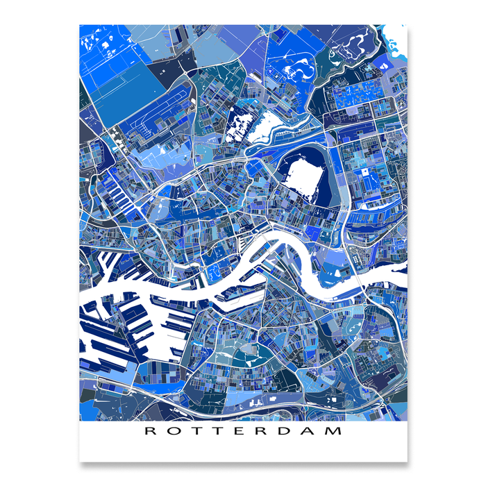 Rotterdam, Netherlands map art print in blue shapes designed by Maps As Art.