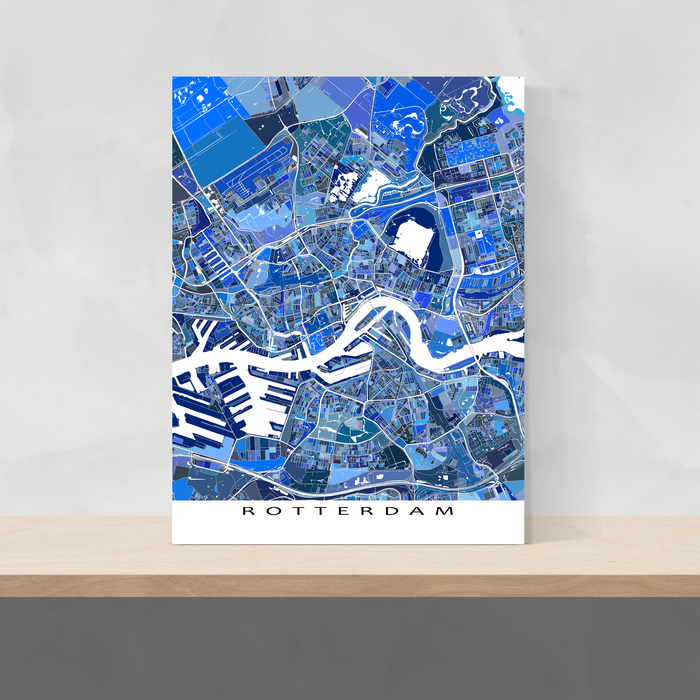 otterdam, Netherlands map art print in blue shapes designed by Maps As Art.