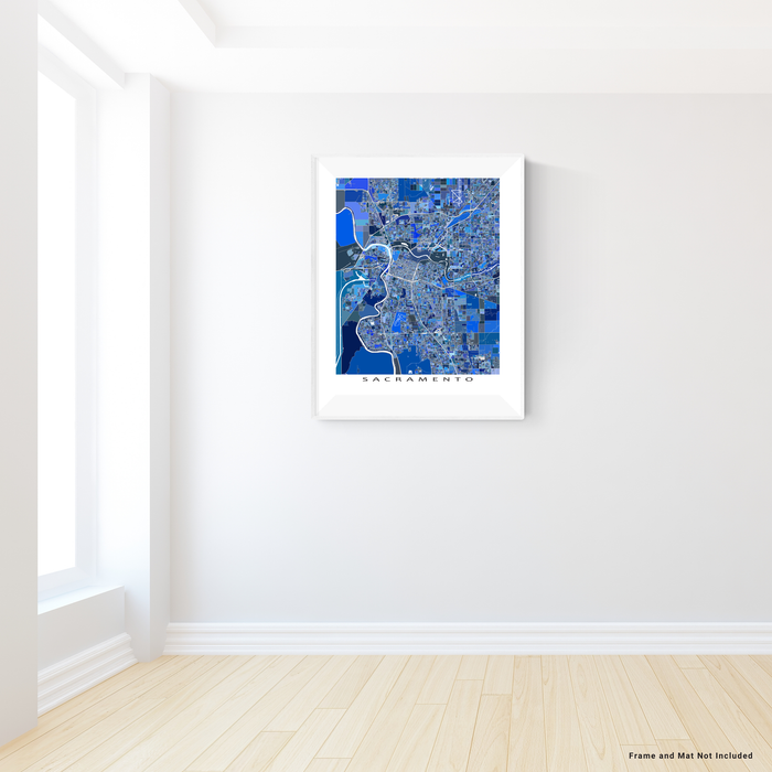 Sacramento, California map art print in blue shapes designed by Maps As Art.