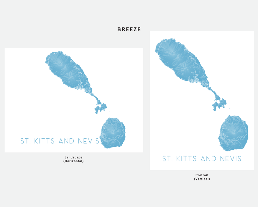 St. Kitts and Nevis map art print in Breeze by Maps As Art.