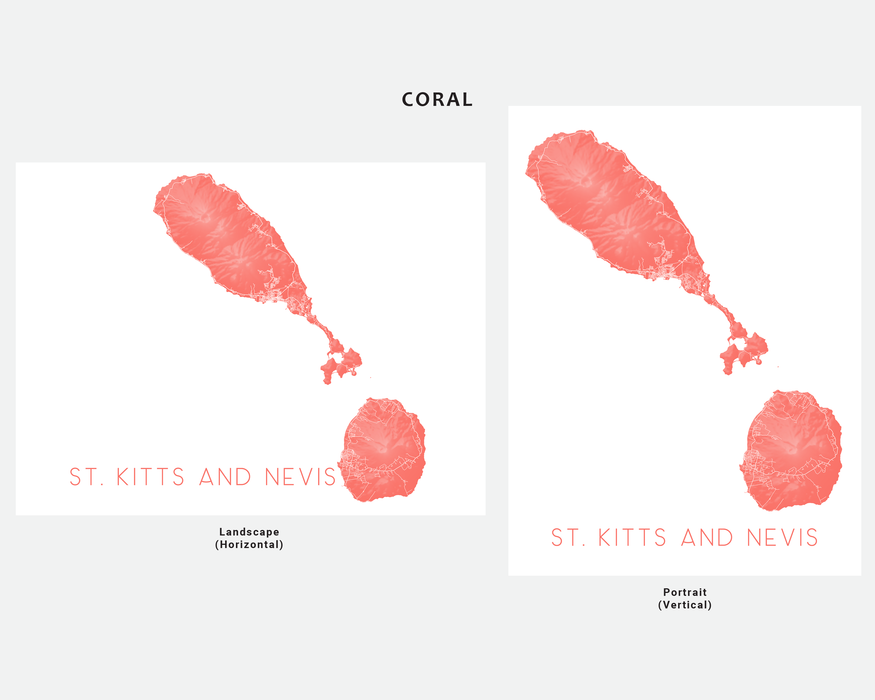St. Kitts and Nevis map art print in Coral by Maps As Art.