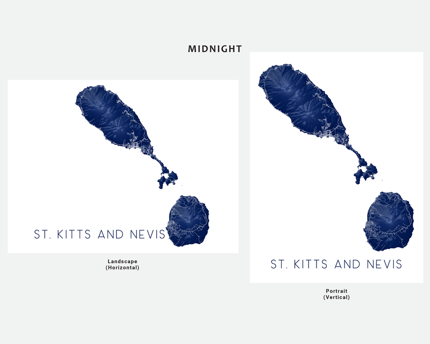 St. Kitts and Nevis map art print in Midnight by Maps As Art.