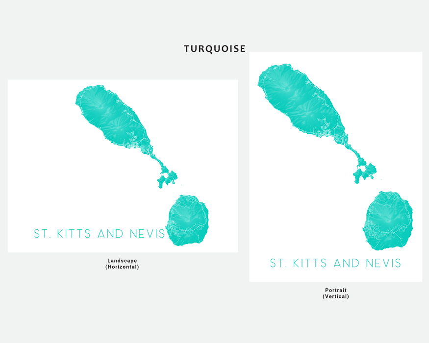 St. Kitts and Nevis map art print in Turquoise by Maps As Art.