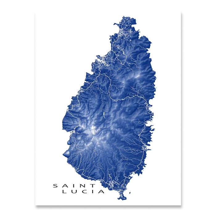 Saint Lucia map print with natural island landscape and main roads in Navy designed by Maps As Art.