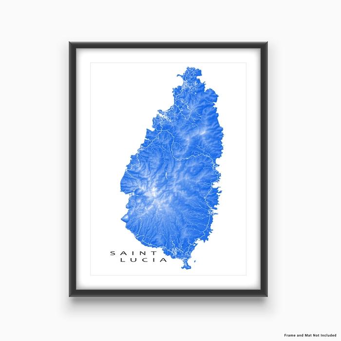 Saint Lucia map print with natural island landscape and main roads in Blue designed by Maps As Art.