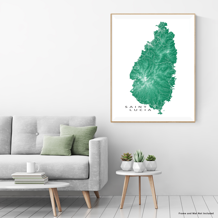 Saint Lucia map print with natural island landscape and main roads in Green designed by Maps As Art.