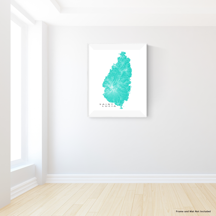 Saint Lucia map print with natural island landscape and main roads in Turquoise designed by Maps As Art.