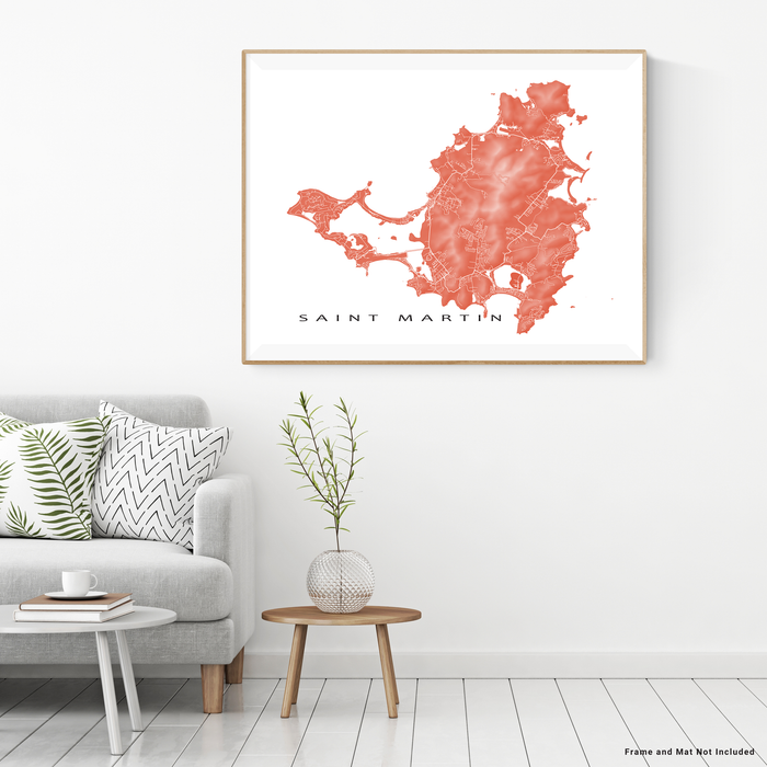 Saint Martin map print with natural island landscape and main roads in Terracotta designed by Maps As Art.