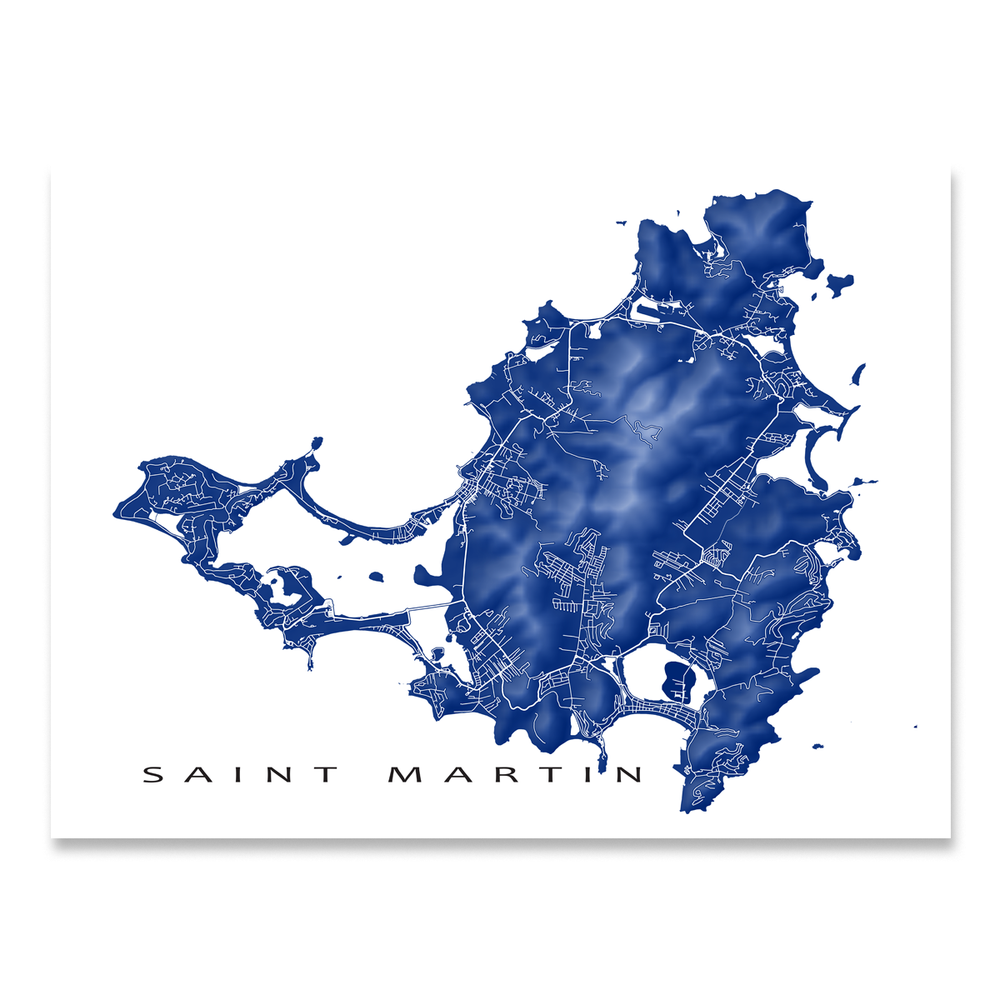 Saint Martin map print with natural island landscape and main roads in Navy designed by Maps As Art.