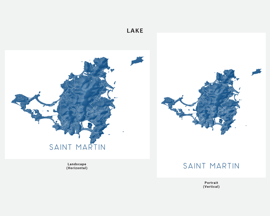 Saint Martin map print in Lake by Maps As Art.