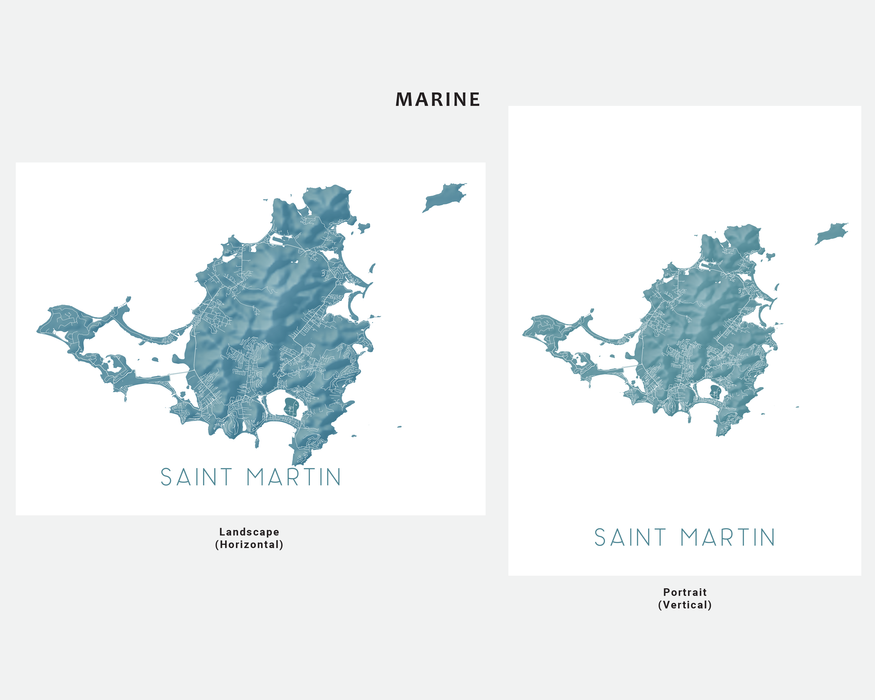 Saint Martin map print in Marine by Maps As Art.
