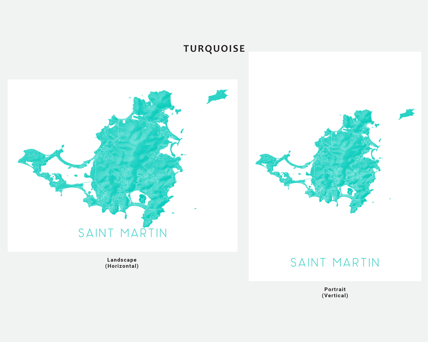 Saint Martin map print in Turquoise by Maps As Art.