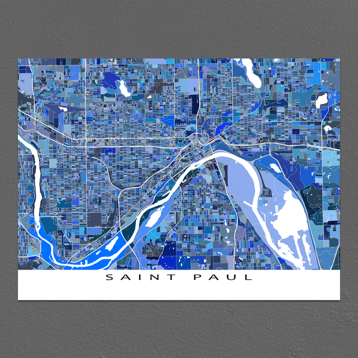 Saint Paul, Minnesota map art print in blue shapes designed by Maps As Art.