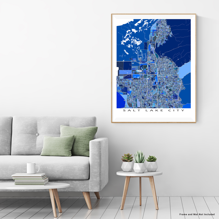 Salt Lake City, Utah map art print in blue shapes designed by Maps As Art.