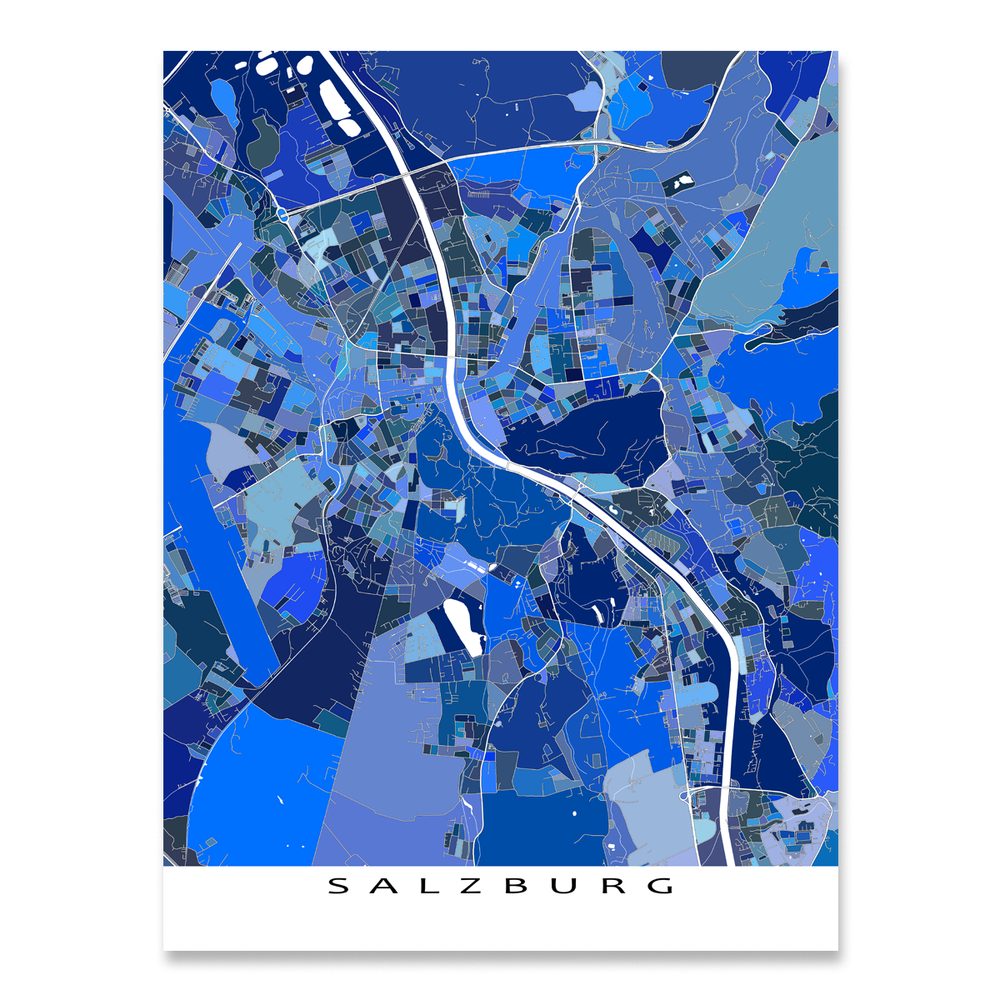 Salzburg, Austria map art print in blue shapes designed by Maps As Art.