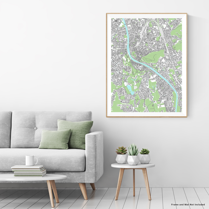 Salzburg, Austria map art print with city streets and buildings designed by Maps As Art.