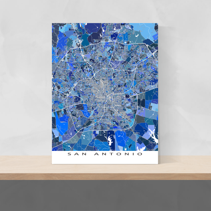 San Antonio, Texas map art print in blue shapes designed by Maps As Art.