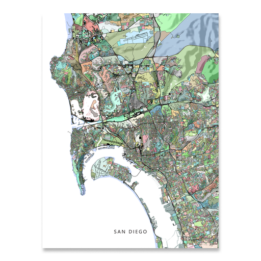 San Diego, California map art print in colorful shapes designed by Maps As Art.