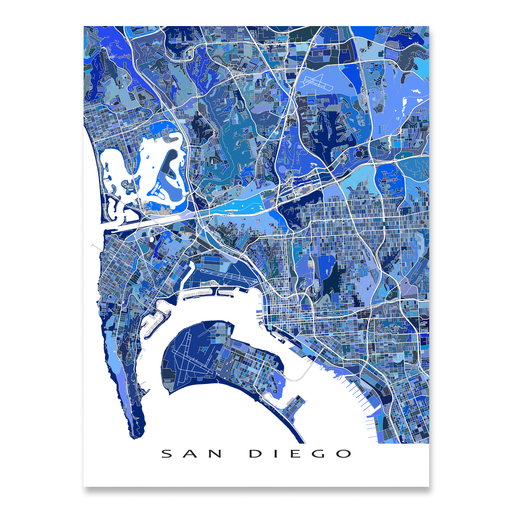 San Diego, California map art print in blue shapes designed by Maps As Art.