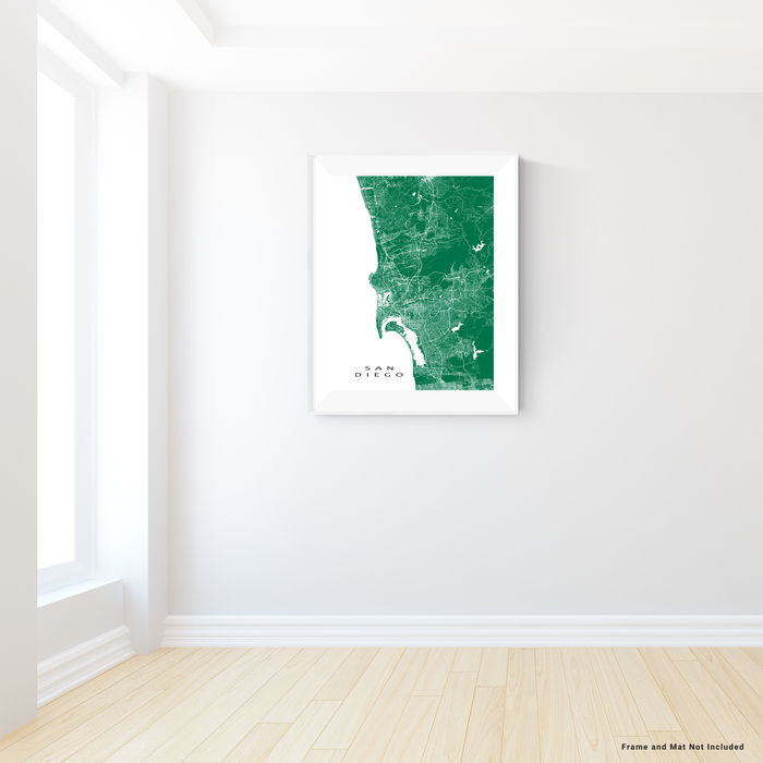 San Diego, California map print with city streets and roads in Green designed by Maps As Art.