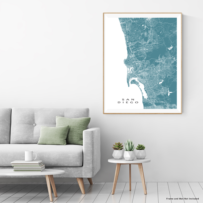 San Diego, California map print with city streets and roads in Marine designed by Maps As Art.