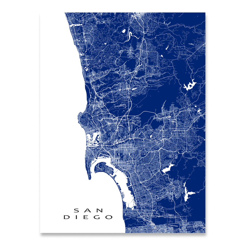 San Diego, California map print with city streets and roads in Navy designed by Maps As Art.