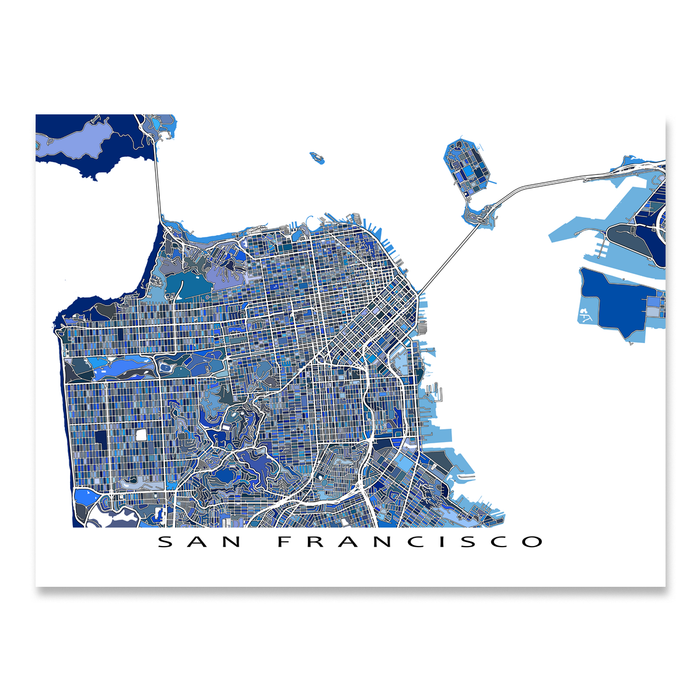 San Francisco, California map art print in blue shapes designed by Maps As Art.
