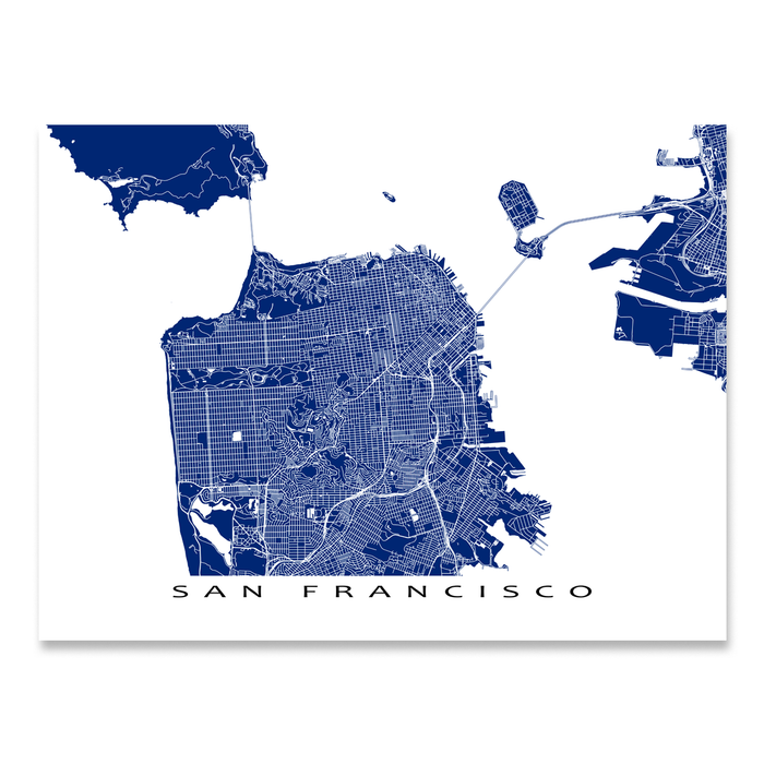 San Francisco, California map print with city streets and roads in Navy designed by Maps As Art.