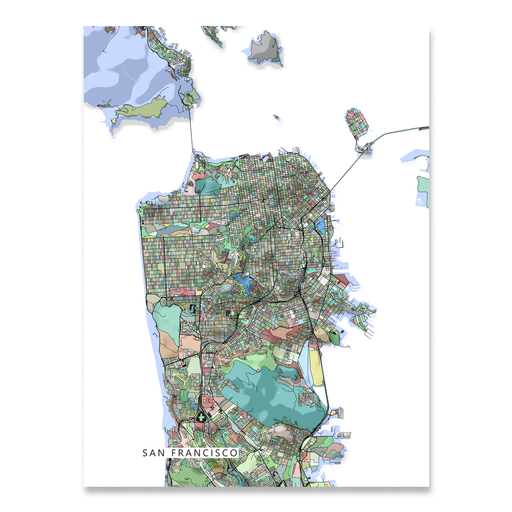 San Francisco, California map art print in colorful shapes designed by Maps As Art.