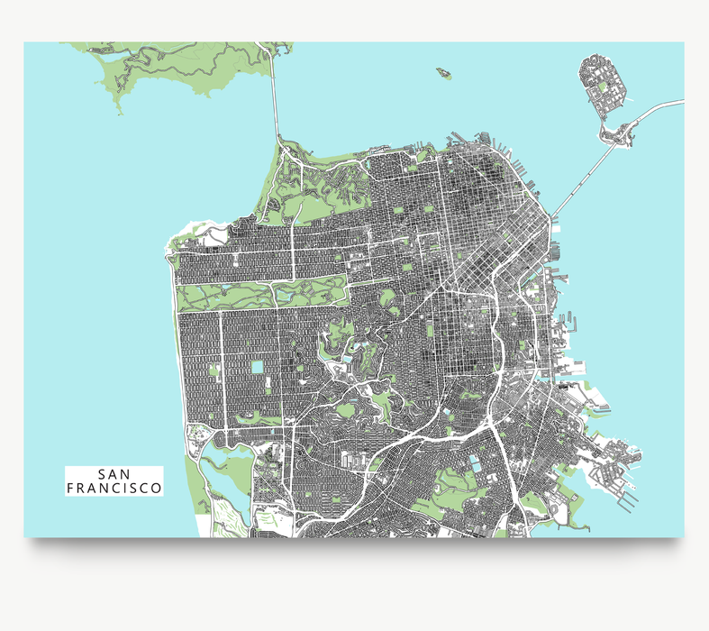 San Francisco, California map art print with city streets and buildings designed by Maps As Art.